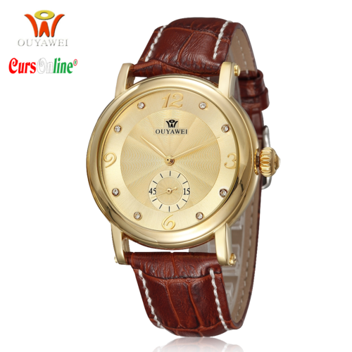 Ouyawei Automatic luxury Gold steel watch Leather Band 1419