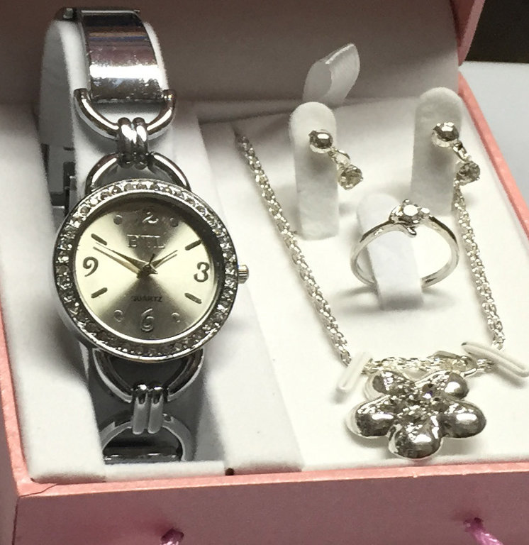 Silver Watch/Jewellery Gift Set for Ladies/Girls 5pcs CursOnline