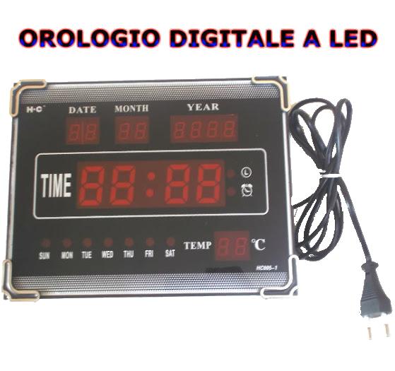 Orologio da parete scrivania a led con data e temp - Orologio digitale da tavolo ...