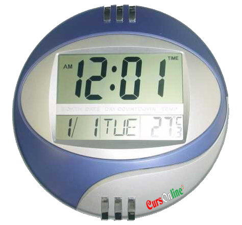 OROLOGIO Da Parete/Scrivania Display LCD Data e Temperatura BLU/CIELO