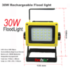 Flood Light Rechargeable White Led 30W 3x18650 Battery