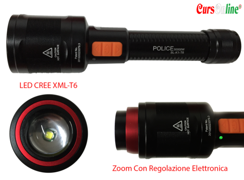 Professional Led Torch CREE XM-L T6 Electric Zoom