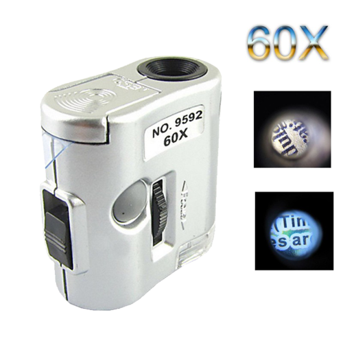 Mini Microscopio 60x Focus Regolabile 2xLed+UV N.9592