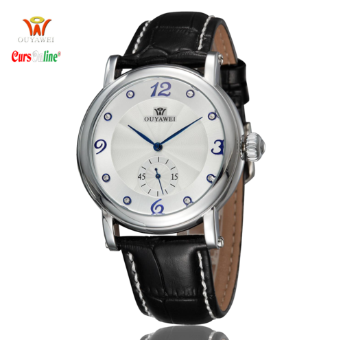 Ouyawei Automatic luxury steel watch Genuine Leather Band 1419