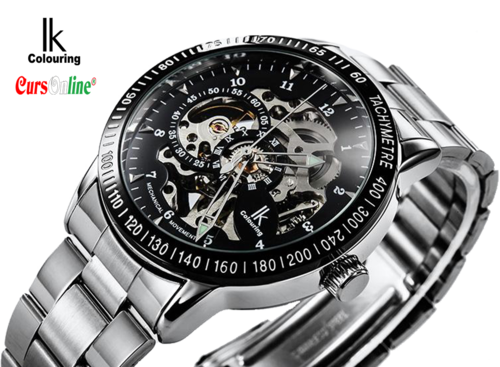 IK Colouring mechanical watch black dial skeleton movement 98226