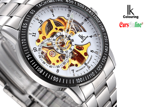 IK Colouring mechanical watch black dial skeleton movement 98226G