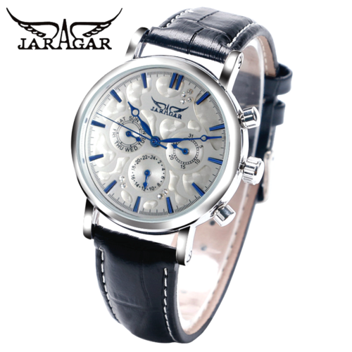 Jaragar Automatic luxury steel watch Genuine Leather Band JR806