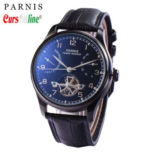 Men Classic Parnis Power Reserve Automatic Watch PN809 Black