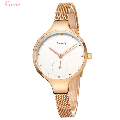 New Women Rose Gold Watch Small Second Dial Kimio K6332M