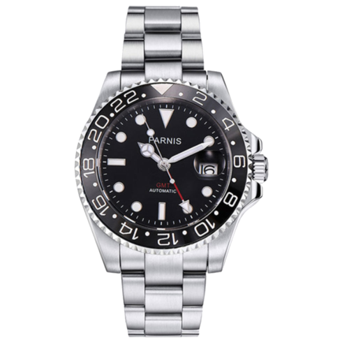 GMT date ceramic bezel automatic steel men watch PN840 Black