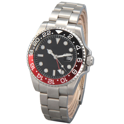 GMT date ceramic bezel automatic steel men watch PN840 Red
